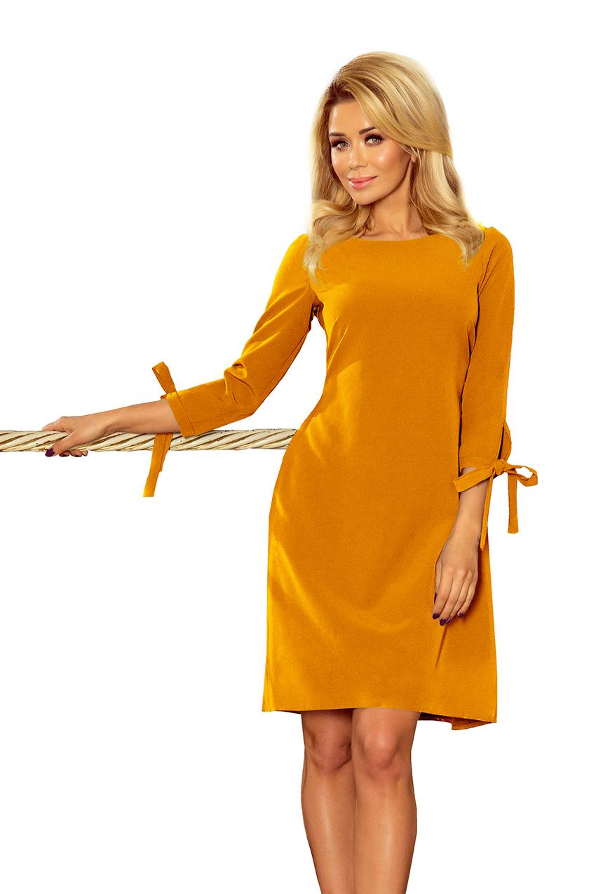 Numoco - Senffarbenes Kleid mit Schleifen an den Ärmel